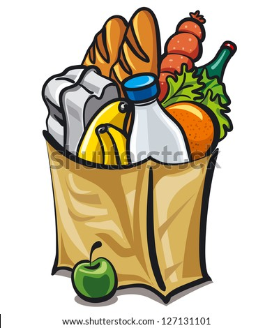 paper bag with food - stock vector