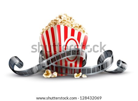 paper bag with popcorn and movie reel vector illustration isolated on white background EPS10. Transparent objects used for shadows and lights drawing. - stock vector
