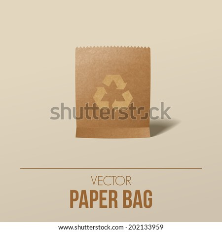 Paper bag with recycling symbol, Vector graphic - stock vector