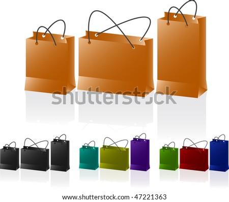 Paper bags set. Vector illustration. - stock vector