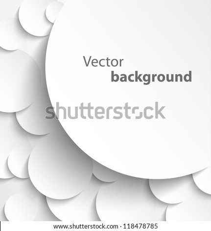 Paper banner on circle background with drop shadows. Vector illustration - stock vector