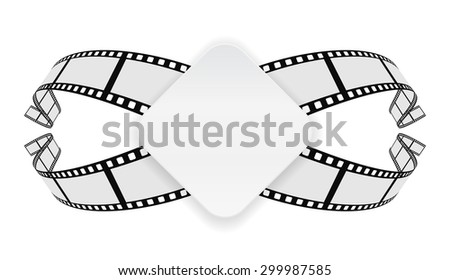 paper banner on film reel abstract background - stock vector