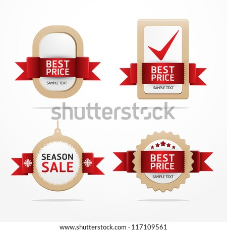 paper banner price tag with ribbon vector - stock vector