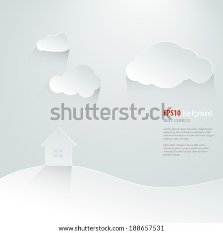 Paper banner with small cabin. Vector illustration. - stock vector
