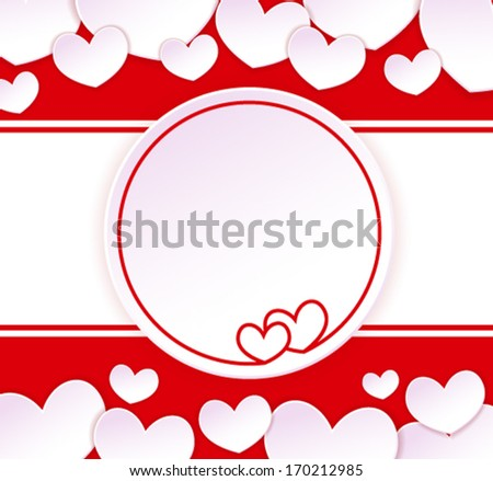 Paper banner with two hearts on the background with paper hearts
