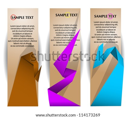 Paper banners with colorful origami elements - stock vector