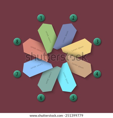 Paper banners with number buttons - trendy design for infographics. Vector EPS10 - stock vector