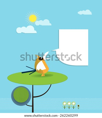 Paper bird perched on tree with speech bubble for your text.Blank space for design - stock vector