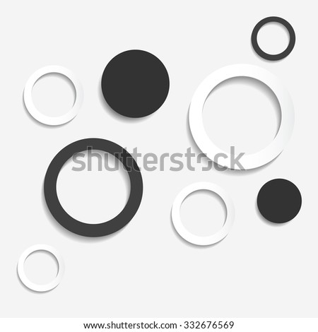 Paper black and white circles with drop shadow on white background. Vector illustration. - stock vector