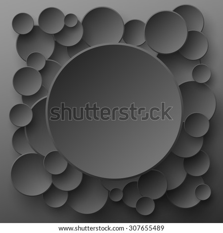 Paper black circle banners with drop shadow - stock vector