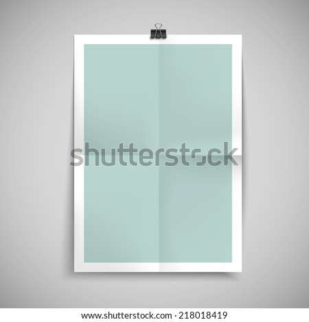 paper blank brochure template hanging over wall - stock vector