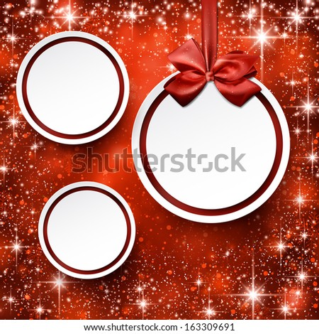 Paper blank christmas balls over red winter abstract background. Vector illustration with snowflakes and sparkles.  - stock vector