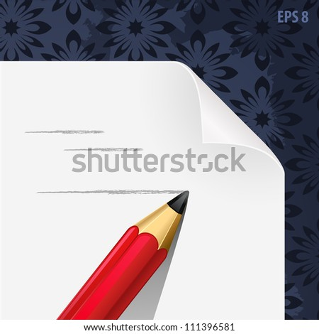 paper blank with pencil hand draw vector illustration