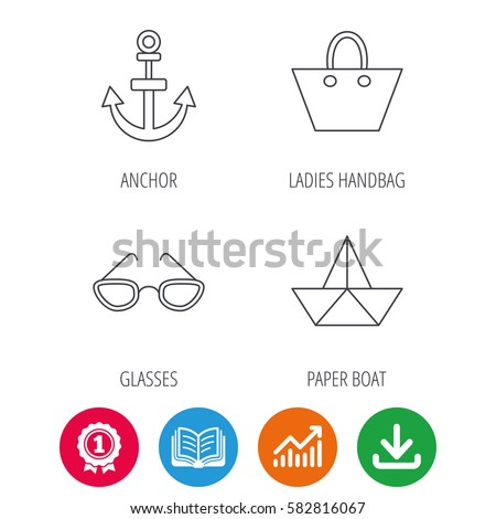 Paper Boat Anchor Glasses Icons Ladies Stock Vector 582816067