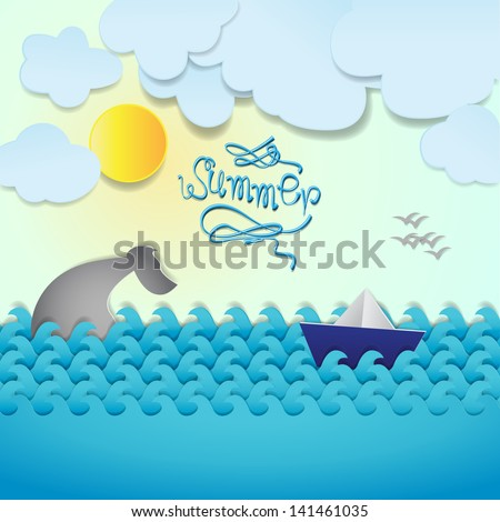 Paper Boat And Whale On Summer Background - Vector Illustration, Graphic Design Editable For Your Design - stock vector