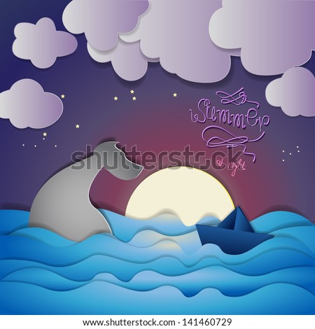Paper Boat And Whale On Summer Night Background - Vector Illustration, Graphic Design Editable For Your Design - stock vector
