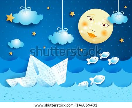 Paper boat, at night.  Vector - stock vector