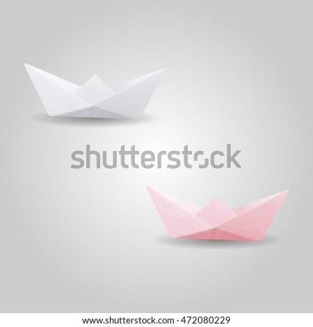 Paper boat high resolution flat triangle polygon vector eps10