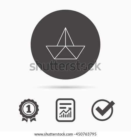 Paper boat icon. Origami ship sign. Sailing symbol. Report document, winner award and tick. Round circle button with icon. Vector