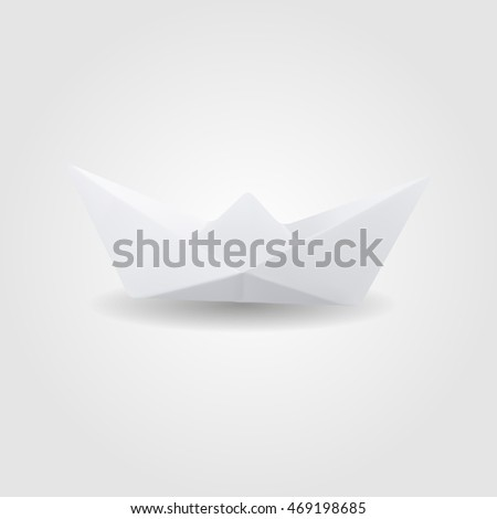 Paper boat low and high resolution triangle mesh realistic vector eps10