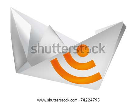 paper boat, rss icon - stock vector
