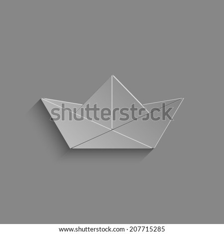 paper boat  vector icon  with shadow on a grey background