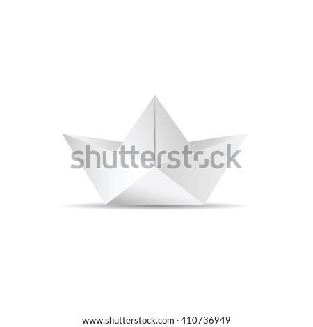 paper boat white icon illustration - stock vector