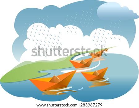 Paper boats in rainy water - vector - stock vector