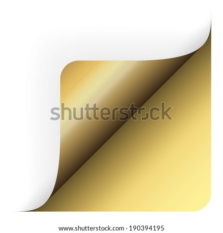 Paper - bottom corner rounded up gold - stock vector