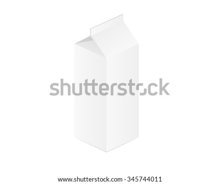 paper box for milk or juice on white background