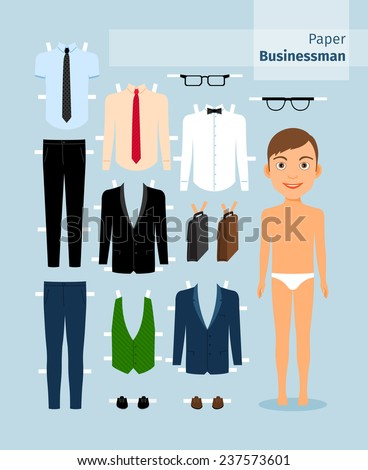 Paper businessman. Suit and shirt, glasses and briefcase. Cute dress up paper doll. Body template. Business collection. - stock vector