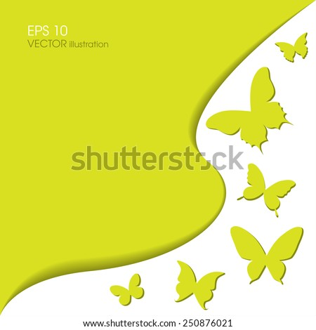 Paper butterflies on a green background. Vector card