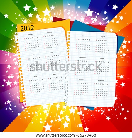 Paper calendar 2012 on star burst background, week starts with sunday, eps10 vector illustration - stock vector