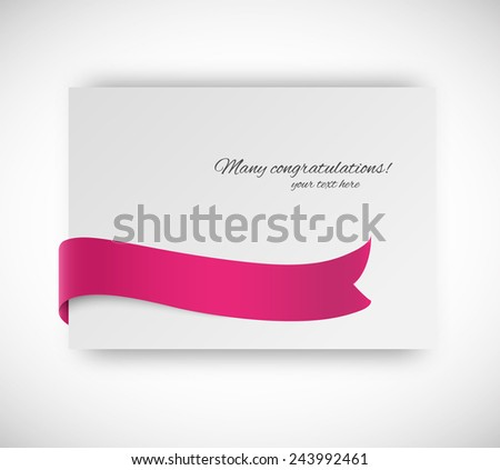 Paper card with ribbon tape in violet color - stock vector