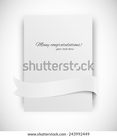 Paper card with ribbon tape in white color - stock vector
