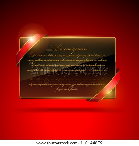 Paper card with ribbons - stock vector