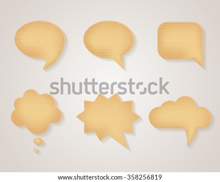 Paper cardboard vector speech bubbles set