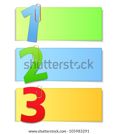 Paper cards with numbers, vector eps10 illustration