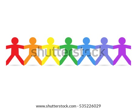 Paper chain cut out people in rainbow colors