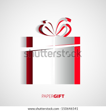 Paper Christmas card with christmas present - stock vector