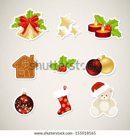 Paper christmas elements isolated on a grey with shadow. Vector illustration.