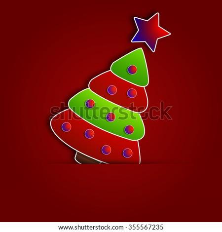 Paper Christmas Tree - stock vector