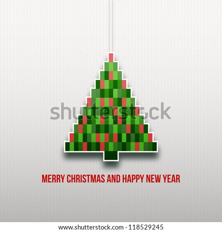Paper Christmas tree. Christmas background. Christmas card. Happy New Year. Paper texture. Christmas origami. Christmas postcard - stock vector