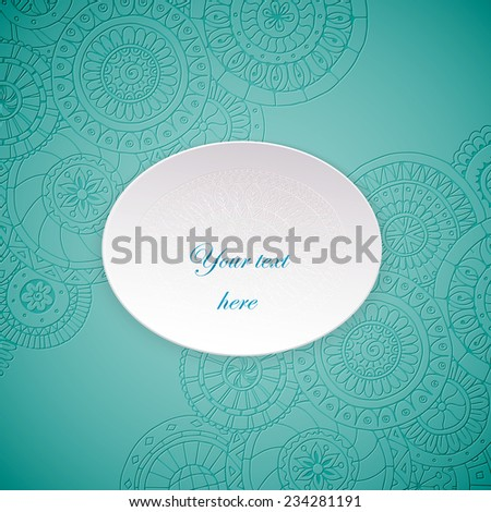 Paper circle banner with drop shadows. Vector illustration. Abstract floral doodle background. Lace circle, snowflake on a white plate with shadow. - stock vector