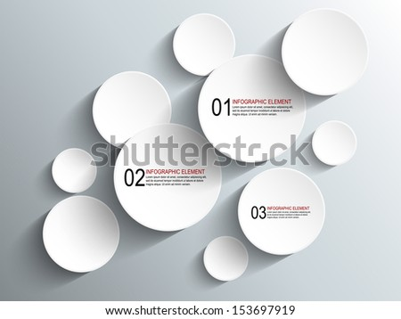 Paper circles with drop shadows - stock vector