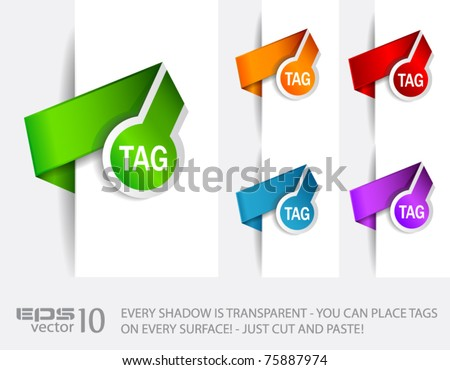 Paper Circular Style tags with TRANSPARENT shadows. You can pleace it on every surface! - stock vector