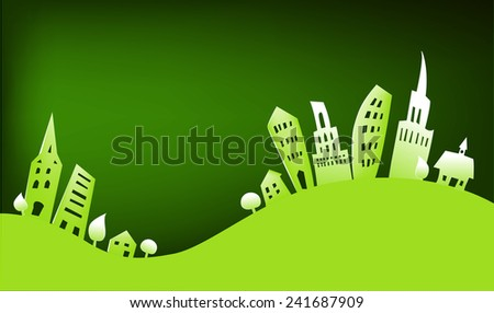 Paper city background - stock vector