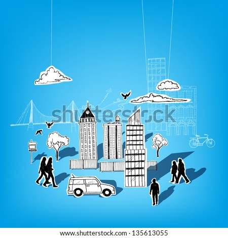 Paper City Vector Elements. City lifestyle, cut out paper and pen style. - stock vector