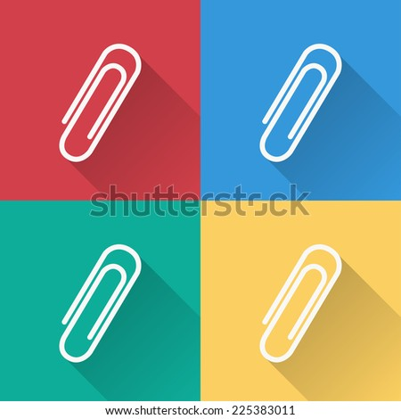 paper clip icon , flat design on 4 color background - stock vector