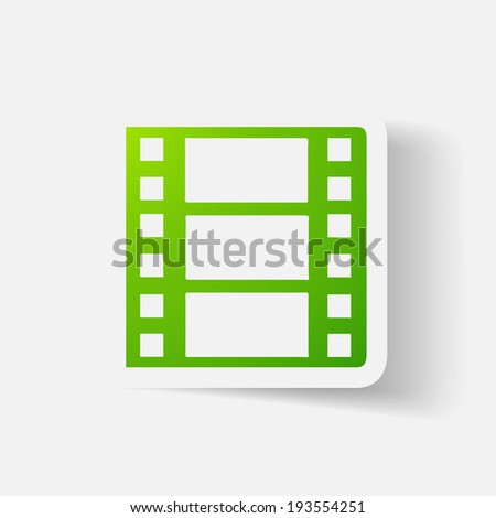 Paper clipped sticker: film. Isolated illustration icon - stock vector